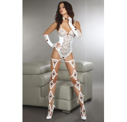 Sexy Completo bianco 4 pezzi con cuori rossi 'Discoma'