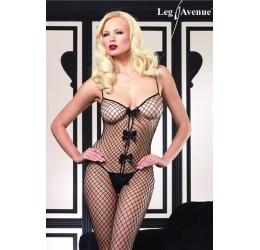 Leg Avenue sexy bodystocking rete con fiocchi