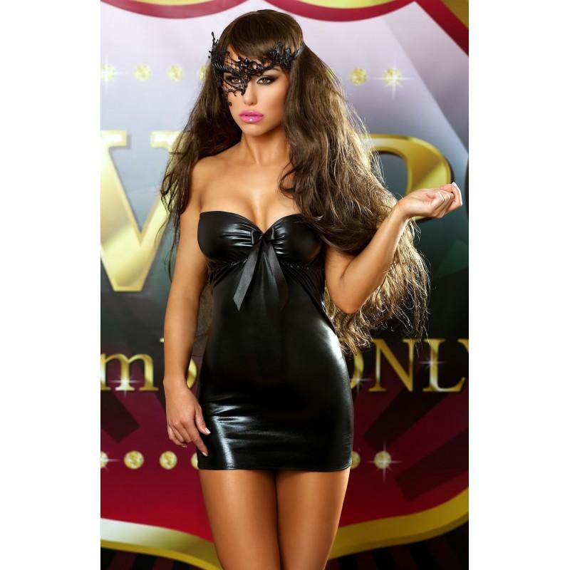 Sexy Mini abito nero lucido stringato 'Bows dress'