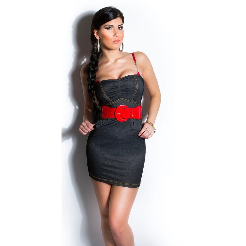 buy popular 0aef8 628f5 Tubino nero corto con cintura rossa taglia unica 38/42 | Mini Abiti Donna |  Rosanerastore Color Nero Size Unica (dalla 38 alla 42)