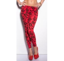 Sexy Leggings rossi e neri con stampe tg. unica 40/44