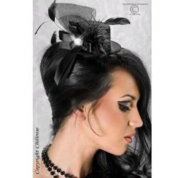 Mini Cappellino Nero con Piume e Fiocco Burlesque