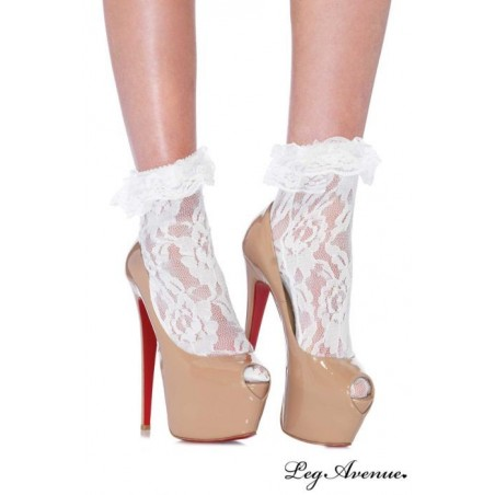 Calzini corti bianchi in pizzo Leg Avenue LA-3030
