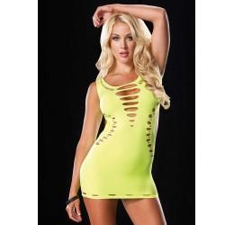 Sexy Mini abito giallo fluo con strappi LA86578