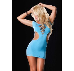 Sexy Mini abito azzurro fluo con strappi LA86578