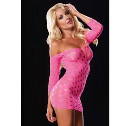 Sexy Mini abito rosa fluo traforato LA86579