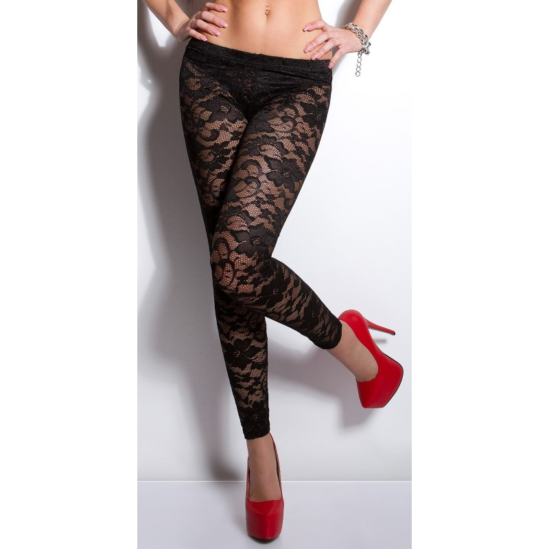 Sexy leggings pantacollant neri in pizzo