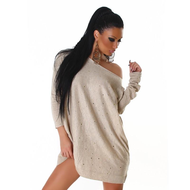 Pullover maxy maglia beige con borchiette