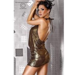 Sexy mini abito lucido scollato colore bronzo con brillantini