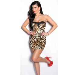 Sexy Mini Abito leopardato con pietre tg. unica 40/44