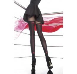 Collant neri con riga rossa 40 DEN 'Canella' Fiore Hosiery