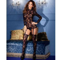 Bodystocking nera in pizzo stile guepiere BeWicked Lingerie