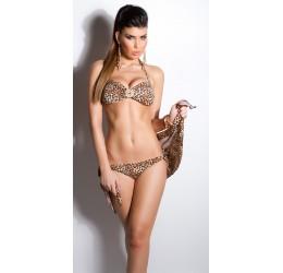 Sexy Costume Bikini 2 pezzi leopardato con pareo