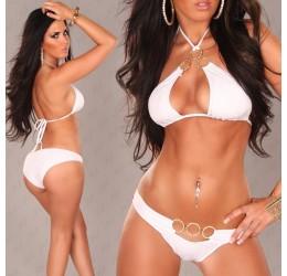 Costume donna Bikini 2 pezzi bianco con anelli