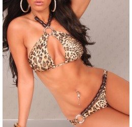 Bikini, Costume da bagno donna 2 pezzi leopardato con anelli
