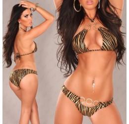 Bikini zebrato nero/oro con anelli
