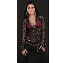Sexy Camicia in pizzo nera/glitter taglia unica