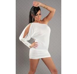 Sexy mini abito monospalla bianco con zip tg. 40/44