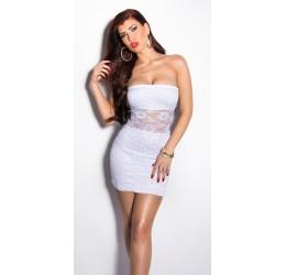 Sexy mini abito tubino bianco rivestito in pizzo tg. 38/42