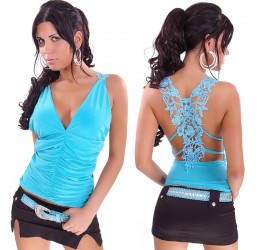 Sexy top turchese in lycra con inserto in pizzo 40/44