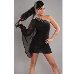 Sexy Mini abito monospalla nero con strass