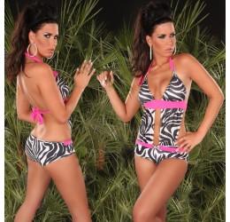 Sexy Monokini Costume da bagno intero zebra e rosa
