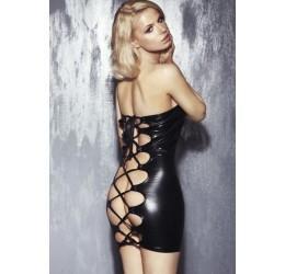 'Oxana' Mini abito nero lucido stringato 7Heaven