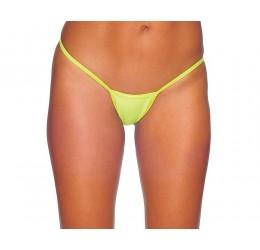 Sexy Perizoma V-string giallo neon in lycra lucida