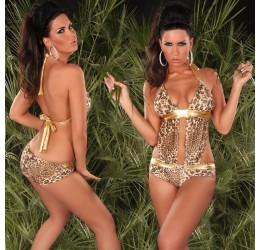 Sexy Monokini donna costume da bagno intero leopardato e oro