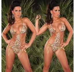 Sexy Monokini costume da bagno donna intero leopardato e oro