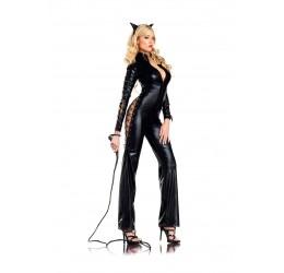 Sexy Costume da Gatta in tessuto lucido nero 3 pezzi by BeWicked