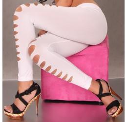 Sexy Leggings bianchi con strappi pantacollant