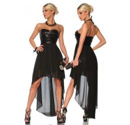 Elegante abito asimmetrico nero con pailettes