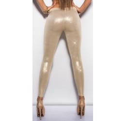 Sexy Leggings in tessuto elastico lucido effetto metallizzato colore: Oro