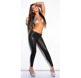Sexy Leggings in tessuto elastico lucido nero effetto metallizzato