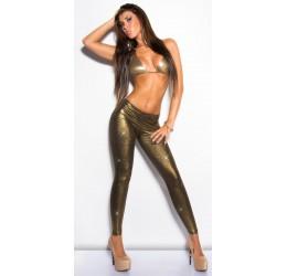Sexy Leggings in tessuto elastico lucido bronzo effetto metallizzato