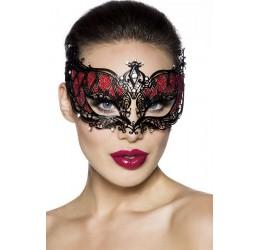 Sexy Maschera metallica con inserti rosso glitter decorata con strass