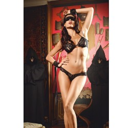Sexy Completino nero 4 pezzi, 'Dreams' Collection by Baci Lingerie
