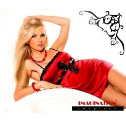 Sexy babydoll in raso rosso con perizoma 'Rose'