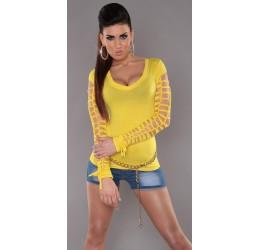 Sexy maglietta gialla scollata con strappi