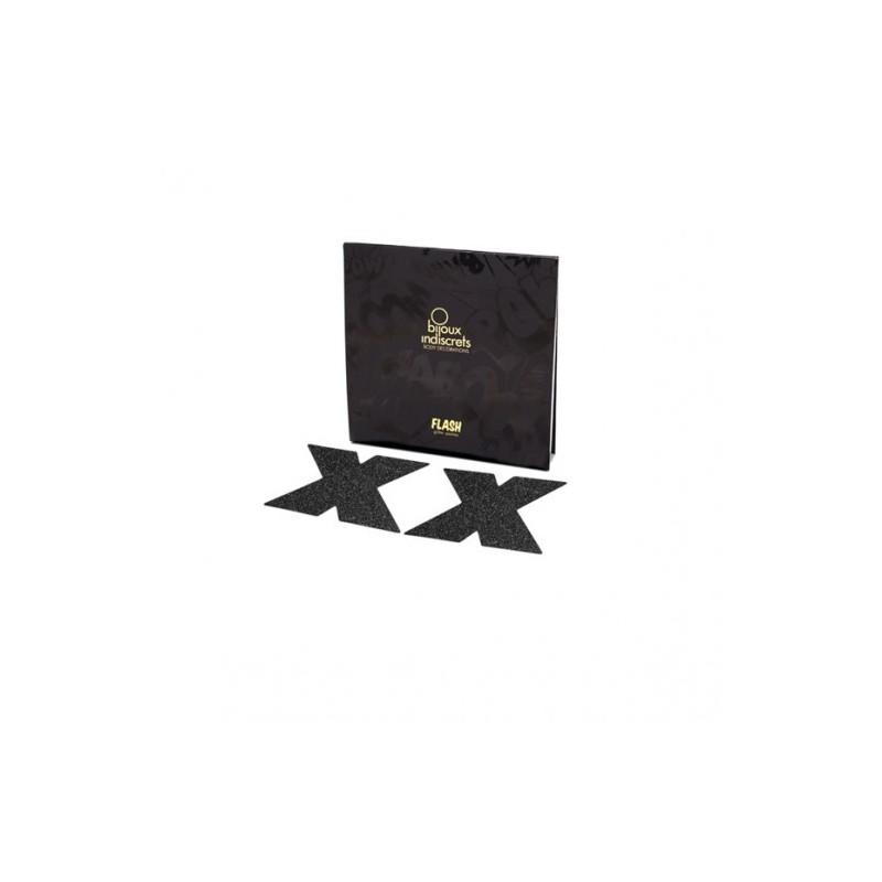 'Flash cross' Copricapezzoli adesivi glitter Bijoux Indiscrets