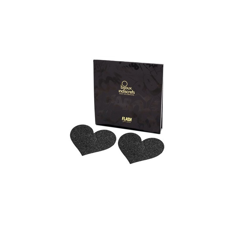 'Flash heart' Copricapezzoli adesivi nero glitter, Bijoux Indiscrets