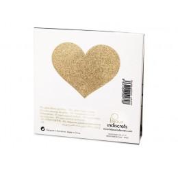 'Flash heart' Copricapezzoli adesivi glitter Oro Bijoux Indiscrets