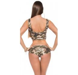 Sexy Completino top e shorts con strappi, tg. unica 38/42