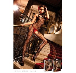 Sexy Bodystocking nera in pizzo floreale, Baci Lingerie
