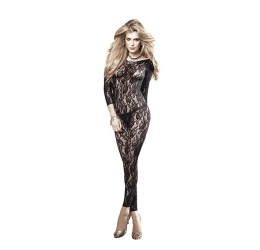 Sexy Bodystocking nera in pizzo floreale senza piede, Baci Lingerie