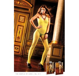 Sexy Bodystocking in rete giallo lime, Baci Lingerie