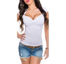 Maglietta bianca a maniche corte con scollo a V