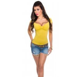 Maglietta gialla a maniche corte con scollo a V