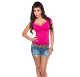 Maglietta rosa fuchsia a maniche corte con scollo a V